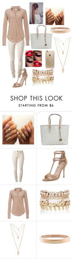 """Untitled #110"" by liyahismee on Polyvore featuring MICHAEL Michael Kors, Burberry, Manolo Blahnik, Bobi, River Island, Forever 21, Chanel, Rifle Paper Co, women's clothing and women"
