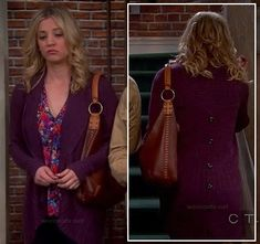 Penny's purple ribbed cardigan with buttons down the back on The Big Bang Theory.  Outfit Details: http://wornontv.net/13064/ #TheBigBangTheory