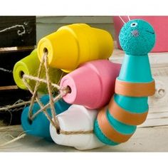 Plaid Clay Pot Snail, this is so cute, it makes me smile :)