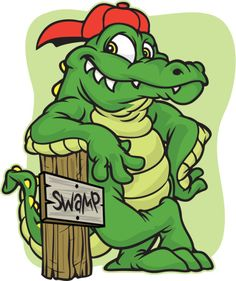 This gator comes in separate pieces. The hat and stump are easily removed, and the gator is complete. Cute Animal Drawings, Cartoon Drawings, Crocodile Pictures, Crocodile Illustration, Alabama Crimson Tide Logo, Florida Gators Football, Louisiana Art, Football Images, Cartoon Fish