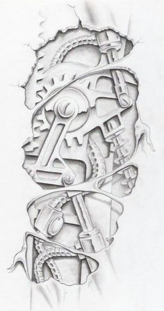 biomechanical graphite by markfellows on deviantART gears sprockets metal steam punk  Tattoo Flash Art ~A.R.