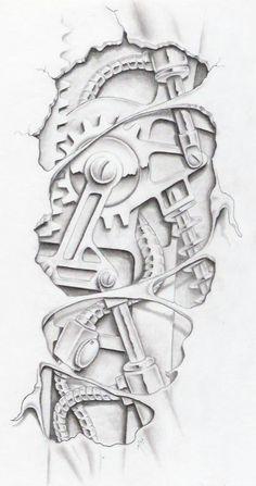 biomechanical graphite by markfellows on deviantART gears sprockets metal steam punk Tattoo Flash Art ~A.R.