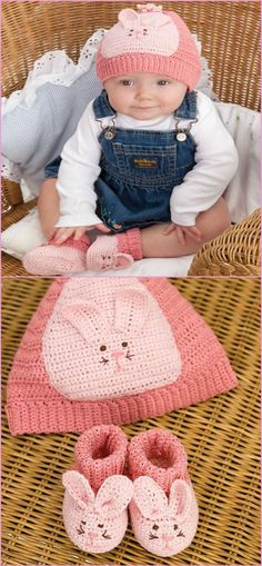 free crochet baby bunny shoes and hat set