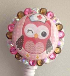Owl Nurse ID Badge Retractable Reel Swarovski by twinklemereel