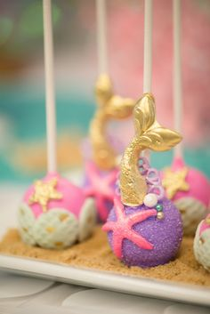 Mermaid cake pops from a Magical Mermaid Birthday Party on Kara's Party Ideas | KarasPartyIdeas.com (11)
