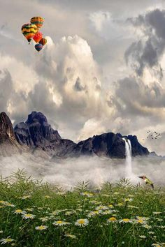 Hot air balloons over the mountains