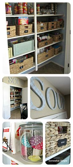 Motivation to organize your pantry and make it pretty! Actually love this idea, if you have a bigger pantry, because it makes healthy snacks -placed up front for the kiddos- accessible and organized!