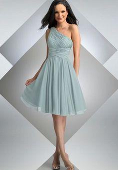 Chiffon One-Shoulder A-line Short Bridesmaid Dress - Bridesmaid - WHITEAZALEA.com