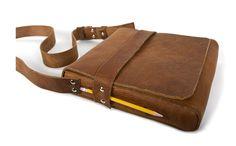 Cambria Handmade - Leather Tablet Messenger Bag >smart pencil holder!