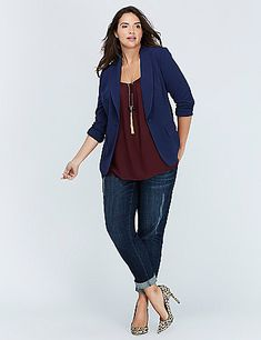 A not-so-basic basic, thanks to our Tailored Stretch fabric. It's perfectly polished and draped, with a subtle stretch for a sleek silhouette. Shawl-collar lapel. Faux-triple-buttons on sleeves. Faux front pockets. Vented back. Single-button closure. Padded shoulder inserts.  lanebryant.com