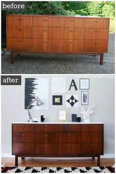 Before & After: Mid Century Modern Credenza with a Glossy White Top #midcenturyfurniture