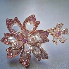 """The """"Palm"""" ring, with pink and white #diamonds from @davidmorrisjeweller"""