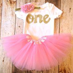 Petal pink tutu with short sleeve gold glitter one onesie- girls 1st Birthday outfit Valentine's Day girls first birthday outfit.