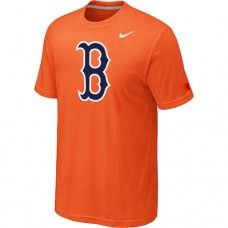 Wholesale Men Boston Red Sox Heathered Blended Short Sleeve Orange T-Shirt_Boston Red Sox T-Shirt