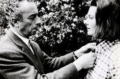 "Michelangelo Antonioni and Vanessa Redgrave on the set of ""Blow-Up"" (1966)."
