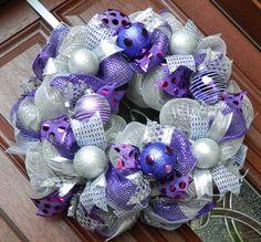 Deco Mesh Christmas Wreath Silver Purple door WhatsOnYourDoor, $85.00