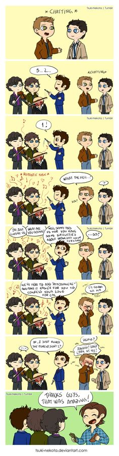 cute destiel cartoon - Google Search