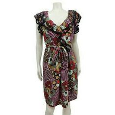 Anthropologie Eva Franco ruffle dress Sz 6 Pre-owned; no flaws found  Material: 98% Rayon 2% spandex Color: purple /Multi. Specifics: right above knee length vintage inspired belted stretch/pull on dress..  Inventory  W3K # 648  Across chest ; 20 in. Waist: 35 in Hip ; 42  in.  length : 38 in. Anthropologie Dresses