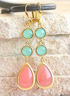 Coral Pink and Aqua Dangle Earrings in Gold. Long Dangle Earrings. Bridesmaids Jewelry.