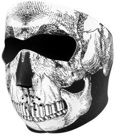 Zan Headgear Neoprene Full Face Mask Black White Skull Cold Riding Gear Snow Ski