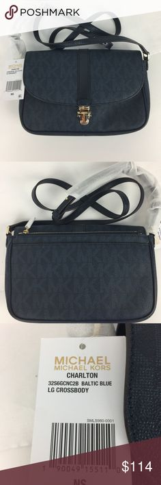 """Michael Kors Charlton Large Crossbody NWT Condition notes: New, with tag, care card and dust bag.   A great everyday bag that goes with everything, in plump soft Venus leather. Push lock closure. Exterior has 1 zip pocket and 1 magnetic snap pocket. Interior has 1 zip, 1 slip pocket and 6 card slots. Cross body strap with 21.5"""" to 25"""" drop. 9.25"""" L x 6"""" H x 2"""" D   Thank you for your interest! No Trades please. Michael Kors Bags Crossbody Bags"""