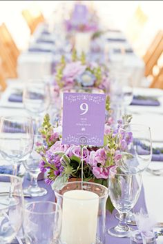 lilac wedding table ideas