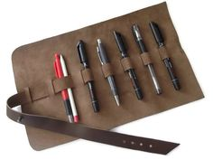 Leather Pencil Case Leather Pen Case Brown  Leather by feltapp, $39.00