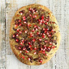 Quinoa Olive Focaccia Crust Pizza with Israeli Za'atar, Caramelized Onions and Pomegranate. vegan recipe | Vegan Richa