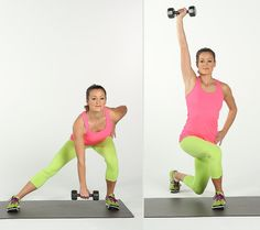 One of our favorite compound exercises. If lunges are new to you, don't add dumbbells . Holding a five- to 10-pound weight in your right hand, side lunge to the left bringing your right hand to your right foot. Lower your butt as much as possible while sinking back into your heels. Keep your toes pointed forward and your left knee bent to no more than 90 degrees. Push off gently with your left foot and come into a curtsy position with your left leg crossing behind ...