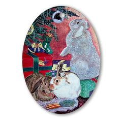 Hoppy Holidays Rabbit Christmas Ornament Rabbit christmas Oval Ornament by CafePress. Three beautifully painted house bunny rabbits enjoy gifts under the tree. Unique gift idea for rabbit lovers Rabbit christmas Oval Ornament Instantly accessorize bare wall-space with our Oval Ornament. Makes great room or office accessories, fun favors for birthday parties, wedding or baby shower Ornaments, or adding a unique, special touch to gift-wrapped packages. Comes with its own festive. Price: $12.50