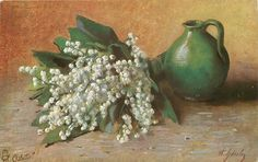 bunch of lily-of-the-valley left, green jug right