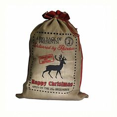 Santa Sack - Delivered By Reindeer. Size: H: 76 cm; W: 55 cm.. A perfect gift - great for Birthdays, Christmas...... TTG(AW) - General Giftware http://www.amazon.co.uk/dp/B00P34DHFS/ref=cm_sw_r_pi_dp_27tgwb0D42MGV