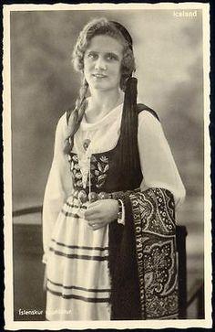 Iceland Islenskur Upphlutur Icelandic Girl in Costumes 1930s RPPC | eBay