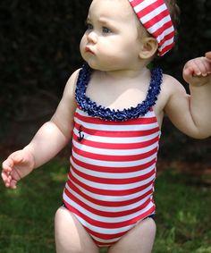 Look at this #zulilyfind! Blue & Red Stripe One-Piece - Infant, Toddler & Girls by Azul Swimwear #zulilyfinds