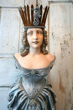 Figurehead Statue ship front lady wall hanging nautical figure shabby cottage chic French Nordic woman w/ crown decor anita spero design Wooden Art, Wooden Ship, Ship Figurehead, Crown Decor, Shabby Chic Cottage, The Little Mermaid, Sculptures, Boats, Sailing