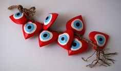 """Evil eye """"mati"""" red version for this Christmas! Fenalie exclusive design, check them out at http://www.fenalie.gr/index.php/el/mati-evil-eye.html"""