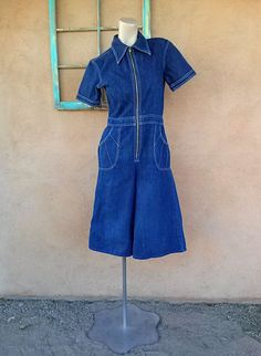 Vintage 1970s Jumpsuit Denim Gaucho 70s Midi Pants W30 2015527 - pinned by pin4etsy.com