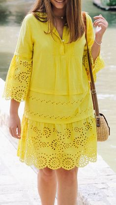 Yellow eyelet lace dress - All About Stylish Dresses For Girls, Stylish Dress Designs, Designs For Dresses, Casual Dresses, Best African Dresses, Latest African Fashion Dresses, African Print Fashion, Lace Dress Styles, Ideias Fashion