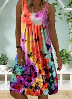 Fashion Wear, Women's Fashion Dresses, Look Fashion, Casual Dresses, Summer Dresses, Square Neckline Dress, Floryday Vestidos, Butterfly Dress, Affordable Dresses