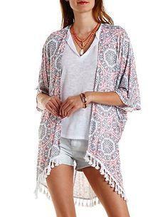Geo Print Tassel-Trim Kimono Cardigan: Charlotte Russe #kimono #spring