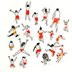 Swimmers by Marie Åhfeldt, Mås Illustra. www.masillustra.se #swimming #red #illustration #drawing #masillustra