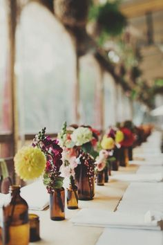 Brown bottle vases | Wedding table centerpieces