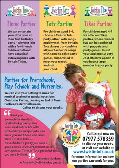 © Wild Ideas and client. Reverse of A5 marketing flyer designed and printed for Twistin Tots. This is to exclusively promote their children's birthday parties. Find out more at http://twistintots.co.uk/prices-and-booking/parties/
