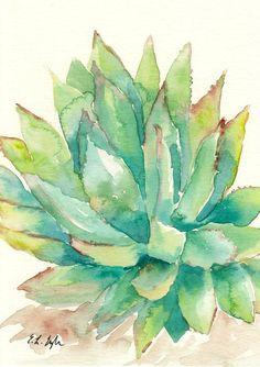 Green, Sage, Yellow, Cactus Art, Original Watercolor Painting, 5x7, succulent, desert plant