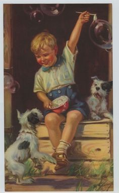 Vintage Henry  Hintermeister Print  Darling Boy blowing Bubbles with dogs   #Vintage