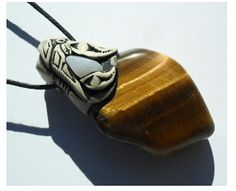 Tigers Eye and Blue Lace Pendant / golden tigers eye by Khayanite, $30.00