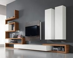 47 Amazing Wall Storage Items For Your Contemporary Living Room. Floating wall storage is a mix of practical storage and home décor fashion where the storage unit is fixed to […] Living Room Tv Unit Designs, Living Room Wall Units, Living Room Modern, Interior Design Living Room, Contemporary Living Room Designs, Modern Contemporary, Contemporary Tv Units, Cozy Living, Modern Rustic