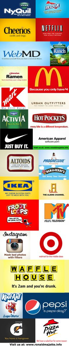 """A fun selection of pics I found on the web. It's supposed to be what various famous brands' slogans would be if they were """"honest""""…  Or at least what a lot of their users perceive as honest.. Lol..  Pretty fun stuff!  www.ronaldmajette.info"""