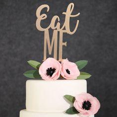Birthday Cake Topper-Gold Eat Me Cake Topper-Funny Cake Topper-Funny Wedding Cake Topper-Alice in Wonderland Cake Topper-Engagement Party