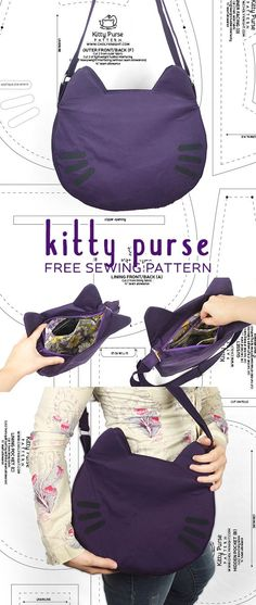 Tendance lunettes : Sewing Tutorial Kitty Purse by SewDesuNe Sale! Shop at Stylizio for womens and mens designer handbags luxury sunglasses watches jewelry purses wallets clothes underwear Sewing Hacks, Sewing Tutorials, Sewing Crafts, Sewing Tips, Sewing Ideas, Diy Crafts, Sewing Art, Sewing Patterns Free, Free Sewing